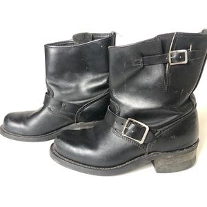 Frye Size 7.5 Engineer Black Leather Short Boots